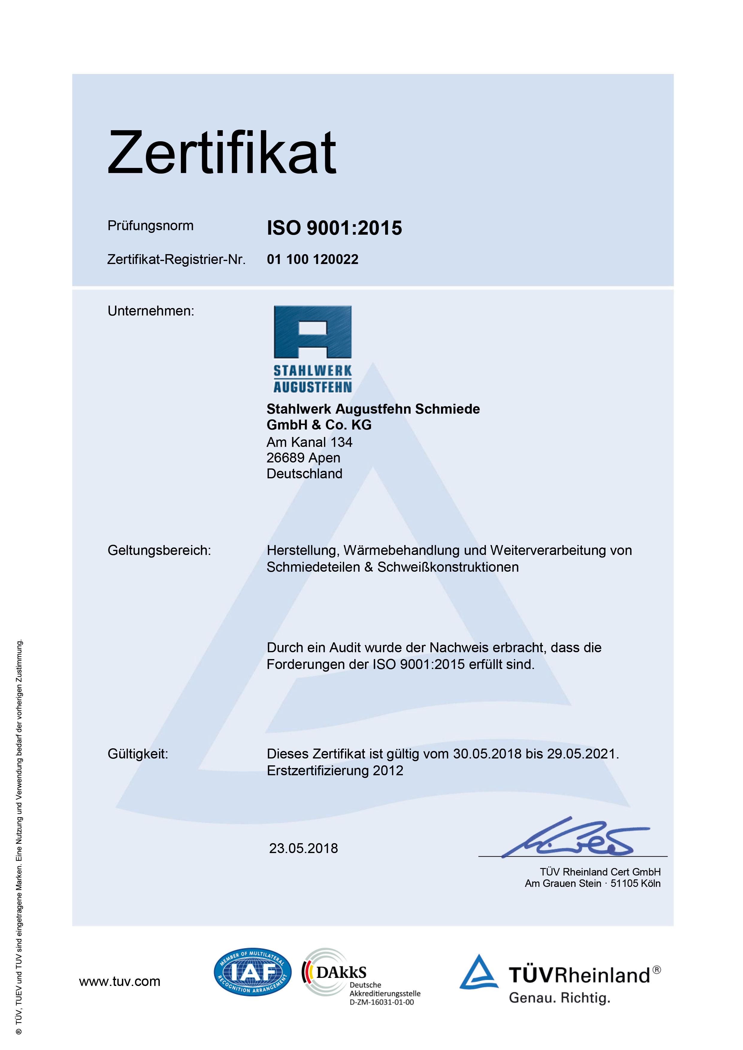 ISO-9001.2015-TÜV-Zertifikat